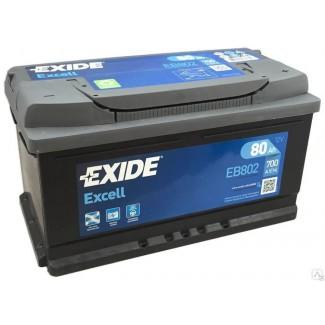 Аккумулятор 6СТ-80 EXIDE  Excell низкий EB802  Обратная полярность