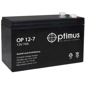 Аккумулятор ОР 12-7 Optimus    Прямая полярность