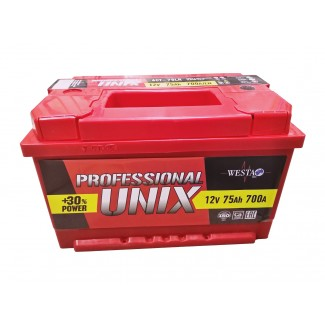 Аккумулятор 6СТ-75 Unix низкий  Unix Professional  Обратная полярность